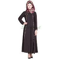 Abaya online with black piping in crepe fabric