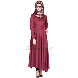 Stretchable flayered abaya in maroon