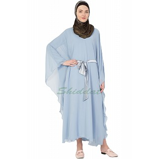Double layer full flayered kaftan - Sky blue with belt