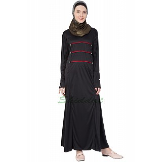 Beautiful Black A line Abaya with red stipes.