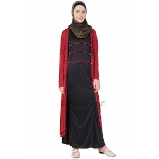 Modest A line Abaya with Red Hosiery Shrug