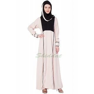 Light pinkish pleated Front Panel Abaya