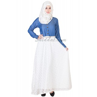 Denim Top and Imported Lace Skirt Abaya
