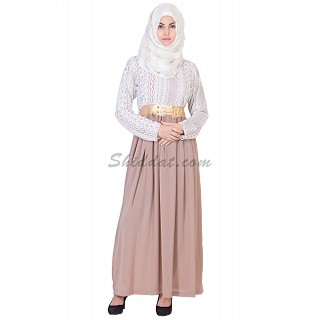 Soft Georgette Skirt White Top Lace materials  Abaya