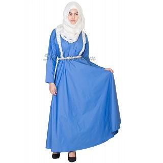 Elegant Royal Blue Denim Coat Style  Abaya
