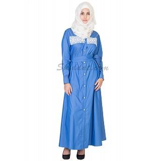 Elegant Royal Blue Denim Coat Style  Abaya with Belt