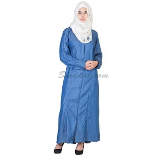 Party Wear Royal Blue Colored Front Open Denim Burqa