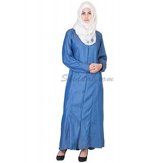 Party Wear Royal Blue Colored Front Open Denim Burqa