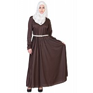 Elegant Full Flair Cocoa-Brown colored Abaya