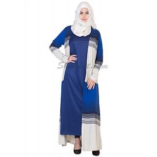 Classic Blue Kimono Abaya - Double Layer