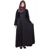 Elegant Black colored Lace Umbrella sleeves Abaya