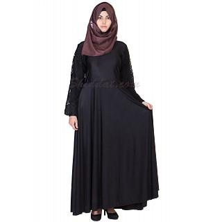 Elegant Black colored Lace Umbrella sleeves Abaya
