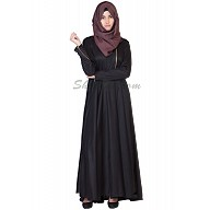Elegant Black colored Abaya with Golden Chain on Top