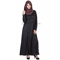 Fashionable Black colored Abaya with Golden Buttons