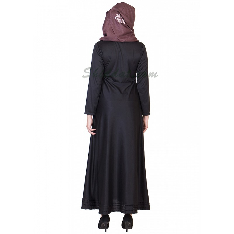 abaya  black colored abaya with full flair online in india