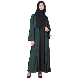 Classic Green Kimono Abaya - Double Layer