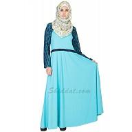 Classic Sky-Blue Kimono Abaya - Double Layer