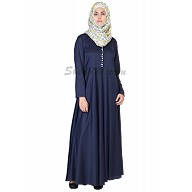 Elegant Navy Blue colored Abaya with  pearl buttons on chest