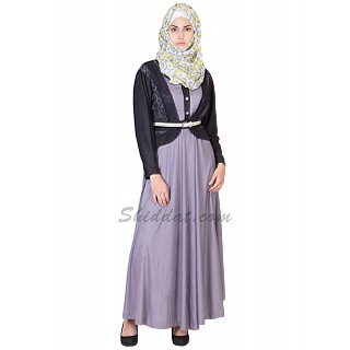 Double Layer Abaya- Classic Gray Colored Kimono