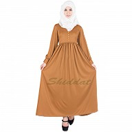 Golden colored Abaya with  pearl buttons