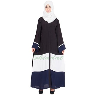 Tri colored front open abaya