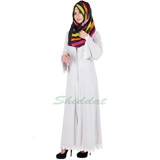 Grey lace abaya