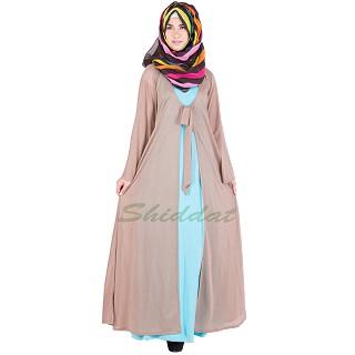 Classic Kimono Abaya - Sky blue and Dark beige