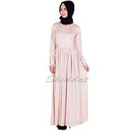Peach glossy abaya - Glace lycra fabric
