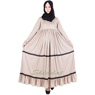 Frock style abaya - Beige colored