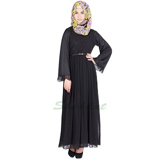 Lace abaya - Black pleated in Georgette and Lycra