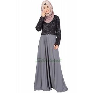 Lace Abaya - Black