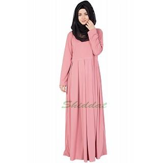 Box Plate Abaya - Coral Pink