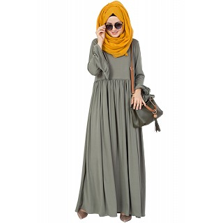 Frock Style Abaya - Royal Greenish Grey