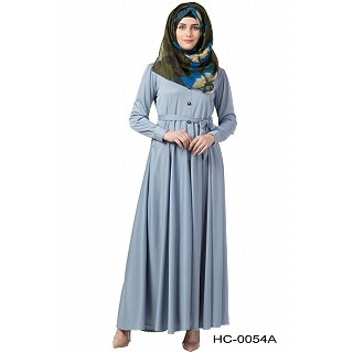 Front open Flared abaya- Sea Blue