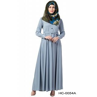 Front open Flared abaya- Sea Blue