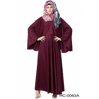 Designer Cape abaya- Blackberry color
