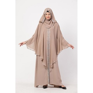 Layered Bridal abaya with stonework- Beige color