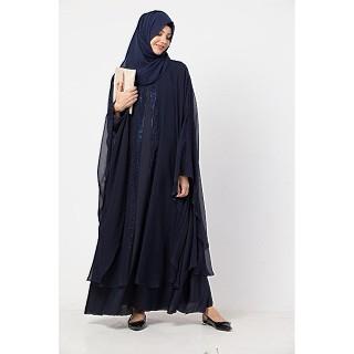 Double layered Bridal abaya with stonework- Navy Blue
