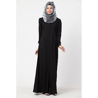 Black front open abaya with pintucks