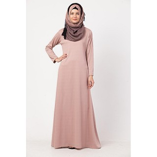 Simple A-line abaya in Lycra- Rose Gold