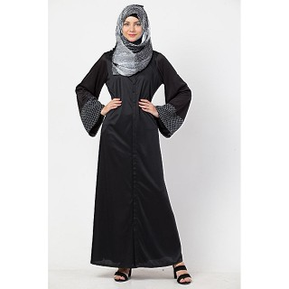 Front open A-line abaya- Black