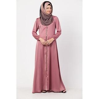 Designer front open Zipper abaya- Puce Pink