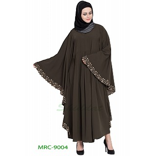 Embroidered Kaftan abaya- Brown