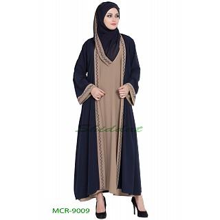 Dual color Kimono abaya with a matching Hijab