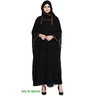 Double layered abaya with a matching Hijab- Black