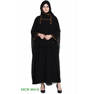 Double layered abaya with a matching Hijab- Black