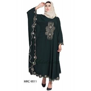 Embroidered Irani style Kaftan abaya- Bottle Green