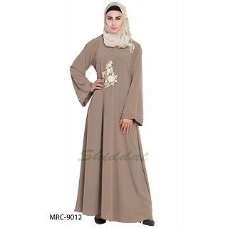 A-line embroidered abaya- Khaki