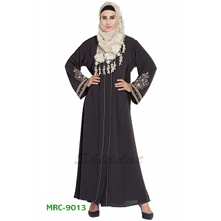 Front open abaya with embroidery- Charcol grey
