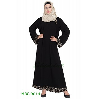 A-line embroidered Black abaya